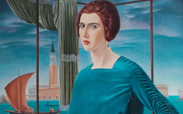 Ubaldo Oppi Ritratto della moglie sullo sfondo di Venezia (dettaglio) 1921 Collezione privata Roma