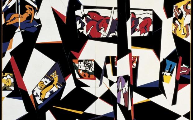 Ugo Nespolo, Museo espressionista, 1985, acrilici su legno, 180 x 180 cm