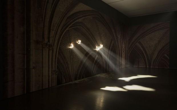 Yann Pocreau, Cathédrale, 2013 Print on wallpaper, lighting system, smoke machine, interventions. In process of acquisition © Yann Pocreau, 2017 Photo: Richard-Max Tremblay