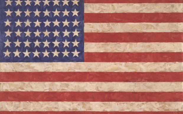 Jasper Johns, Flag, 1958. Encaustic on canvas. 105.1 x 154.9 cm. Private collection c Jasper Johns / VAGA, New York / DACS, London 2017. Photo: Jamie Stukenberg c The Wildenstein Plattner Institute, 2017
