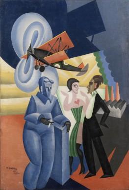Fortunato Depero, Ritratto dell'aviatore Azari, 1922, olio su tela, 136 x 93 cm