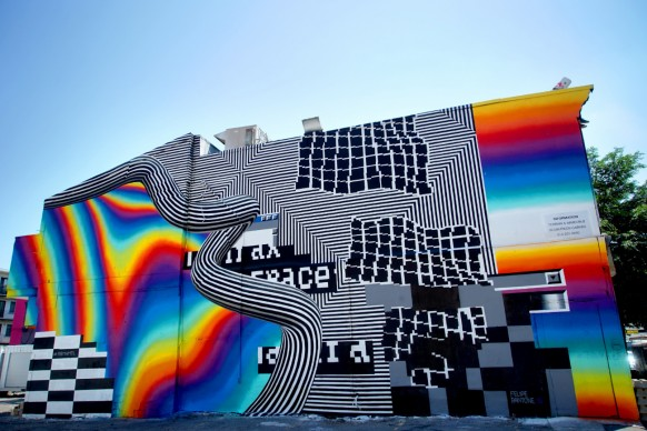 Felipe Pantone (b. 1986). Untitled, Mural in Montreal, 2016. Spray Paint. Study for live installation in Art from the Streets exhibition at ArtScience Museum, 2017. Photo courtesy of the artist