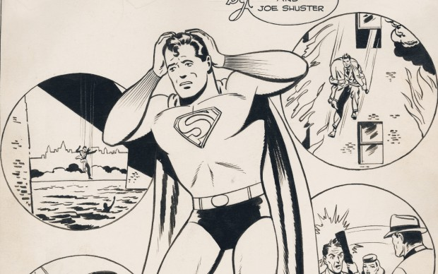 """Page one of lost Siegel and Shuster Superman story """"Too Many Heroes."""" (Graphic: Business Wire)"""