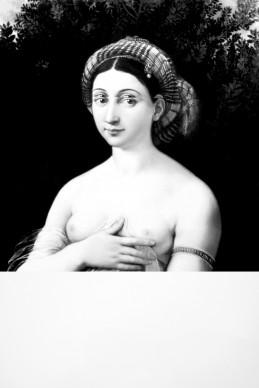 Mariella Bettineschi, L'era successiva (Raffaello, La Fornarina), 2010. Pittura digitale e stampa diretta su Plexiglas, tiratura 3 esemplari. Collezione privata, Roma