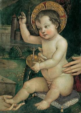 Pintoricchio, Bambin Gesù delle mani, 1492 c. Fondazione Guglielmo Giordano, Perugia