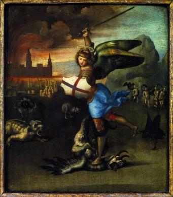 Raffaello Sanzio, San Michele e il drago, 1505 c. Musée du Louvre, Parigi, credits: Paris, Musée du Louvre, Département des Peintures