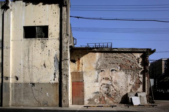 Vhils (Alexandre Farto b. 1987). Untitled, Mural in Shanghai, 2012. Courtesy of the artist. Photo courtesy of the artist
