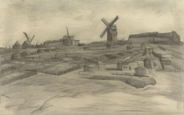 vincent van gogh the hill of montmartre disegno