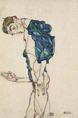 Egon Schiele, Prediger (Selbstakt mit blaugrünem Hemd), 1913 © Leopold Museum, Vienna