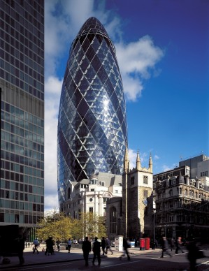 Foster + Partners, 2004 - Swiss-RE Headquarter, London, England. Photo credit: Foster + Partners