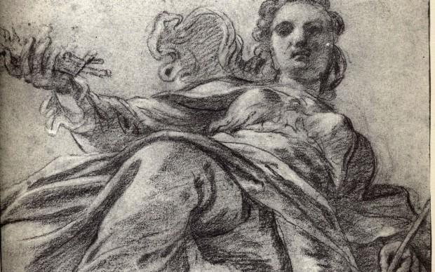Ludovico Carracci, Flora, carta colorata, matita, gessetto, 1590-1592