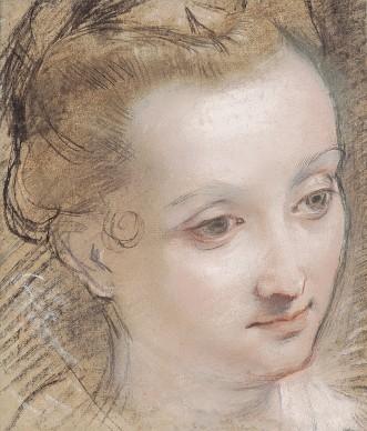 Federico Barocci, Tête de jeune femme,1585-1590, collection Jean Bonna, Genève, photo Patrick Goetelen