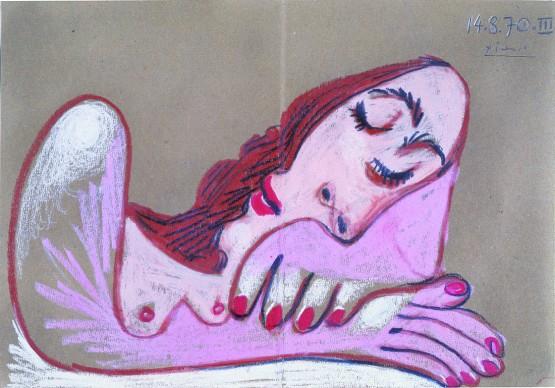 Pablo Picasso, Buste de femme en dormie, 14 août 1970, Fondation Jean et Suzanne Planque, en dépôt au Musée Granet, Aix-en-Provence, photo Luc Chessex © Succession Picasso/2018, ProLitteris, Zurich