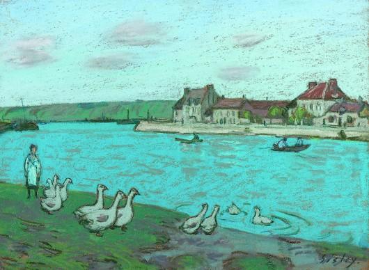 Alfred Sisley, Les oies au bord du Loing, 1890-1894, collection privée, photo Eric Frigièr