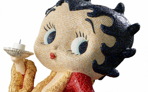Sam Havadtoy, Betty Boop, lace, acrylic and gold leaf on found object, 120x55x60 cm, 2016