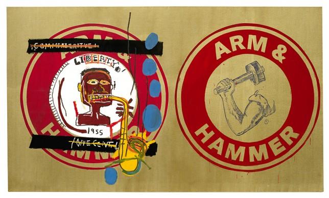 Jean-Michel Basquiat and Andy Warhol, Arm and Hammer II, 1984. Guarded by Bischofberger, Männedorf-Zurich, Switzerland © VG Bild-Kunst Bonn, 2018 & The Estate of Jean- Michel Basquiat, Licensed by Artestar, New York, Courtesy Galerie Bruno Bischofberger, Männedorf-Zurich, Switzerland