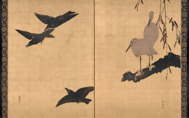 Shibata Zeshin, Egrets and Crows, tardo XIX secolo, Fishbein-Bender Collection