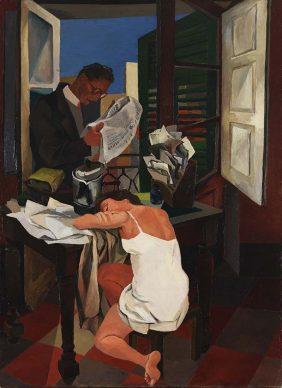 Renato Guttuso, Balcone (figure tavolo e balcone), 1942. Olio su tela, Rovereto, Mart – Museo di arte moderna e contemporanea di Trento e Rovereto Collezione VAF - Stiftung