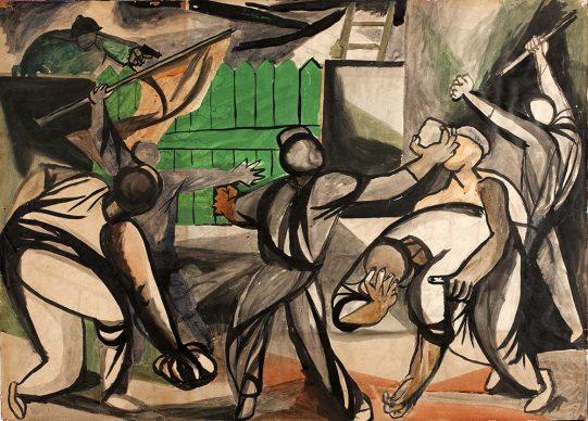 Renato Guttuso, Lotta di minatori francesi, 1948. Tempera su carta incollata su cartone, Collezione privata, Roma