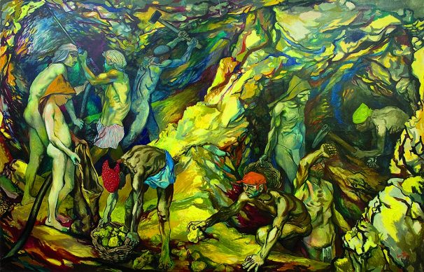"""Renato Guttuso, Zolfara, 1953. Olio su tela, Regole d'Ampezzo, Museo d'Arte Moderna """"Mario Rimoldi"""", Cortina d'Ampezzo"""