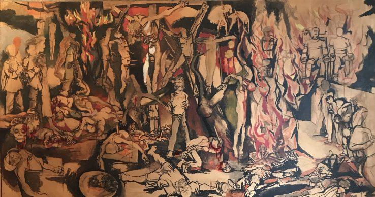 Renato Guttuso, 100.000 Martiri, 1954. Olio su carta intelata, Courtesy: Galleria De Bonis – Reggio Emilia