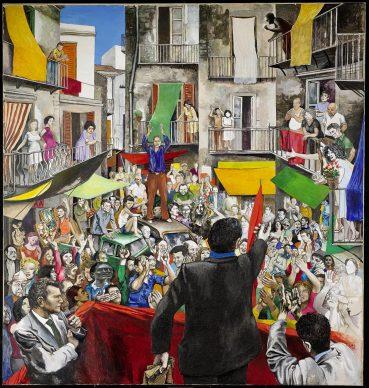 Renato Guttuso, Comizio di quartiere, 1975. Acrilici e collage su carta intelata. Collezione Quenza, USA Courtesy Galleria d'arte Maggiore, Bologna