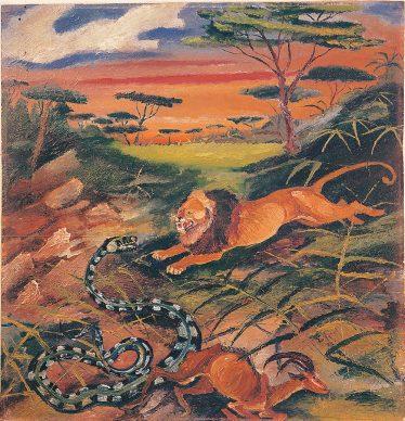 Antonio Ligabue, Leone con serpente, s.d. (1942-1943), olio su tavola di compensato, 59,5 x 57,5 cm, Guastalla ( Reggio Emilia), collezione privata