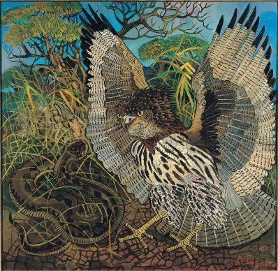 Antonio Ligabue, Il serpentario, s.d. (primavera 1962), olio su tavola di faesite, 126 x 130 cm Gualtieri (Reggio Emilia), collezione privata