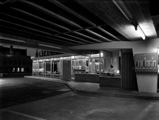 Sigrid Neubert, Gerd Wiegand: Parkhaus Grottenau, Augsburg, 1957 © Architekturmuseum der TU München