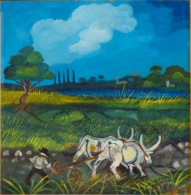 Antonio Ligabue, Aratura coi buoi, 1950-55, olio su faesite, 46 x 44 cm, Collezione UBI Banca