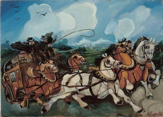 Antonio Ligabue, Diligenza con paesaggio e villa Casanova Rambelli, s.d. (1953-1954) olio su tavola di faesite, 68 x 95 cm, Gualtieri (Reggio Emilia), collezione privata