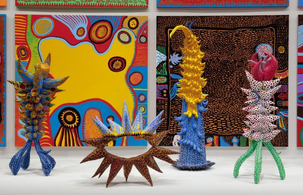Yayoi Kusama, Infinity Mirrors, exhibition view at the Hirshhorn Museum and Sculpture Garden, 2017. Left to right: Living on the Yellow Land, 2015; My Adolescence in Bloom, 2014; Welcoming the Joyful Season, 2014; Surrounded by Heartbeats, 2014; Unfolding Buds, 2015; Story After Death, 2014. Photo by Cathy Carver