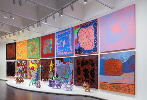 Yayoi Kusama, Selected works from My Eternal Soul, 2009-present, at the Hirshhorn Museum and Sculpture Garden, 2017. © Yayoi Kusama. Photo by Cathy Carver.