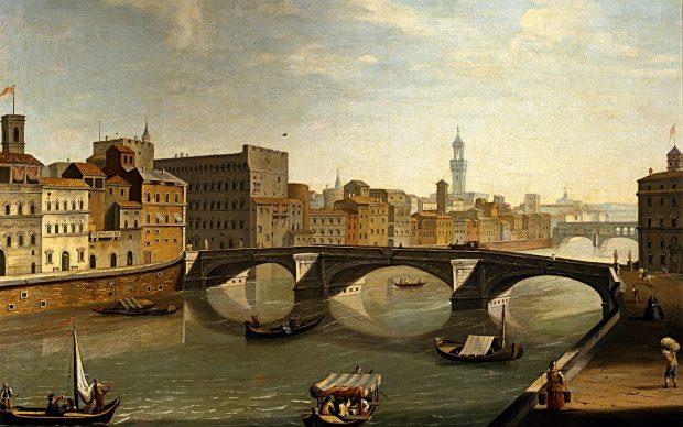 Vincenzo Torregiani Veduta dell'Arno con ponte Santa Trinita 1750 c. Olio su tela Firenze, Gallerie degli Uffizi, Galleria delle Statue e delle Pitture