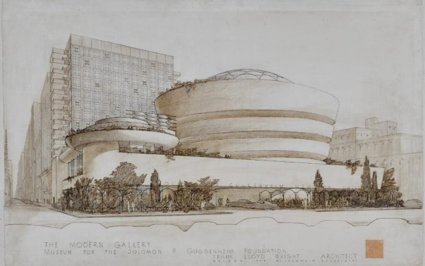Solomon R. Guggenheim Museum (New York, New York). Exterior perspective [4305.017] The Frank Lloyd Wright Foundation Archives (The Museum of Modern Art | Avery Architectural & Fine Arts Library, Columbia University, New York)