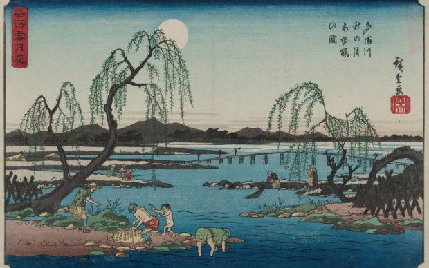 "Hiroshige ""Pesca di ayu nel fiume Tama"", 1844-1847"
