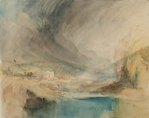 Joseph Mallord William Turner, Storm over the Mountains, c.1842-3. Credits Tate: Accepted by the nation as part of the Turner Bequest 1856