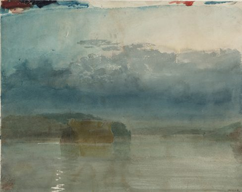 Joseph Mallord William Turner,  A Hulk or Hulks on the River Tamar: Twilight, c.1811-14. Credits Tate: Accepted by the nation as part of the Turner Bequest 1856