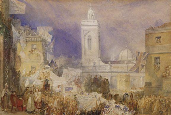 Joseph Mallord William Turner, The Northampton Election, 6 December 1830, c.1830-1. Credits Tate: Purchased 2007