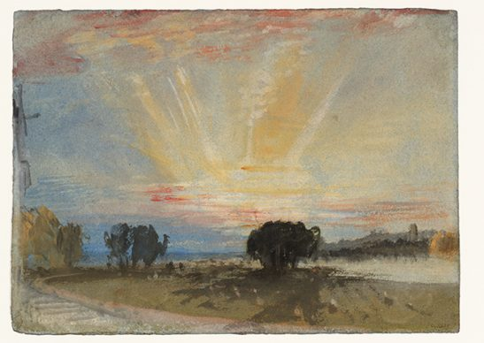 Joseph Mallord William Turner, Sunset across the Park from the Terrace of Petworth House, 1827. Credits Tate: Accepted by the nation as part of the Turner Bequest 1856