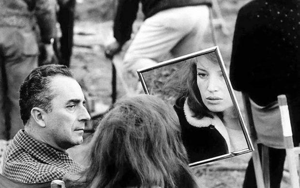 Monica Vitti e Michelangelo Antonioni sul set di Deserto Rosso