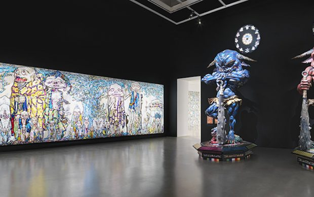 """Installation view of 69 Arhats Beneath the Bodhi Tree, 2013 (left), Embodiment of """"Um"""", 2014 (centre) and Embodiment of """"A"""", 2014 (right) in Takashi Murakami: The Octopus Eats Its Own Leg, Vancouver Art Gallery, February 3 to May 6, 2018, © Takashi Murakami/Kaikai Kiki Co., Ltd. All Rights Reserved, Photo: Rachel Topham, Vancouver Art Gallery"""