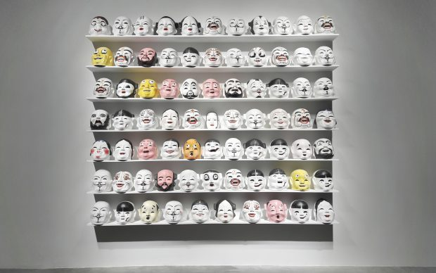 Qiu Zhijie, The Greeting, 2013, paper masks, silicone masks. Installation view at Anren Biennale, 2017. Courtesy Anren Biennale and GALLERIA CONTINUA San Gimignano / Beijing / Les Moulins / Habana