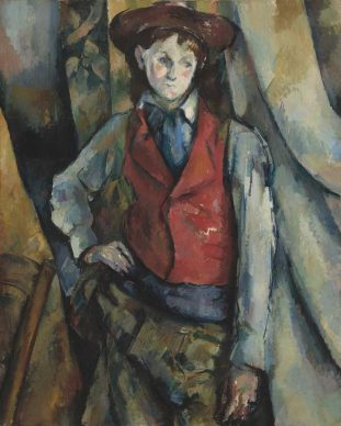 Paul Cézanne, Boy in a Red Waistcoat, 1888–1890, National Gallery of Art, Washington, Collection of Mr. and Mrs. Paul Mellon, in Honor of the 50th Anniversary of the National Gallery of Art