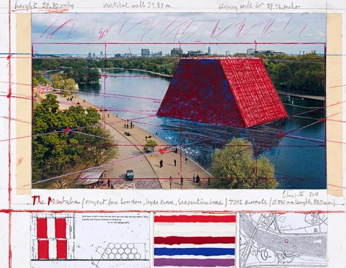 Christo, The Mastaba (Project for London, Hyde Park, Serpentine Lake), Collage 2018. Photo: André Grossmann © Christo 2018