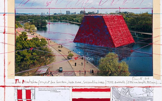 Christo, The Mastaba (Project for London, Hyde Park, Serpentine Lake), Collage 2018: 43.1 x 55.9, Pencil, wax crayon, enamel paint, colour photograph by Wolfgang Volz, map, technical data, mylar and tape, Photo: André Grossmann © Christo 2018