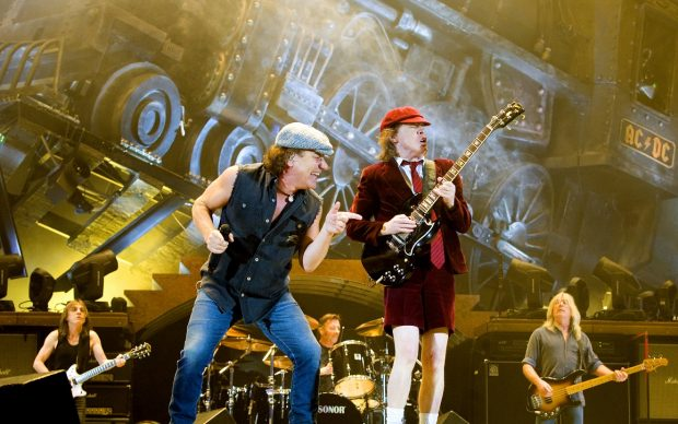 Rockband AC/DC with lead vocalist Brian Johnson and lead guitarist Angus Young play to a full audience at Telenor Arena in Fornebu just outside Oslo Wednesday evening Feb. 18, 2009. It was their first performance in Europe on their Black Ice World Tour which continues to Stockholm and Paris through April 23, 2009 when Birmingham wraps up the European part of the tour. (AP Photo/Scanpix, Sara Johannessen) ** NORWAY OUT **