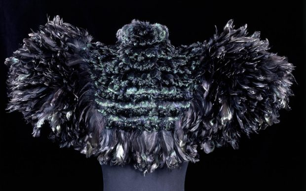 Woman's cape; black curled cock feathers; Auguste Champol; French; c.1895.