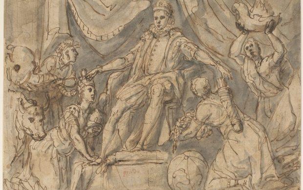 Blas de Prado (Camarena, 1545-1546 ca. - Madrid, 1599) Filippo III e i suoi domini 1587 ca. Penna e inchiostro, pennello e inchiostro diluito, tracce di pietra nera, carta Firenze, Gallerie degli Uffizi, Gabinetto dei Disegni e delle Stampe