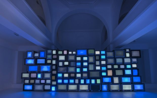 Susan Hiller, Channels, 2013, video installation with sound, dimensions variable. Installation view, Synagogue de Delme Contemporary Art Centre, Delme, France. © Susan Hiller. Courtesy Lisson Gallery. Photography: Oh Dancy.